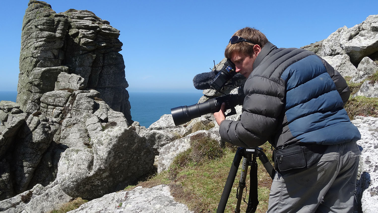 Filming puffin colonies on Lundy Island off the shores of North Devon, UK