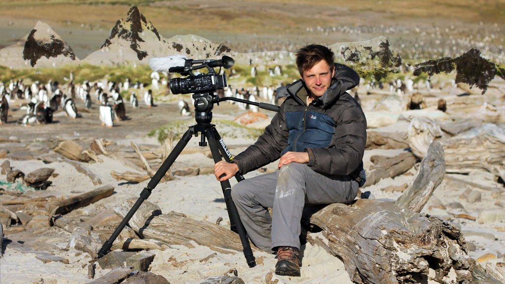 Wildlife cameraman Simon Vacher on the Falklands