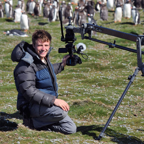 Simon shooting Penguins on Falklands Is